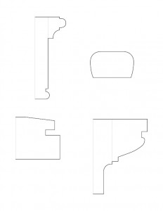 Line art of Columbian House stair moulding profiles.