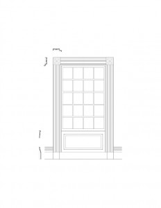 Line art of Columbian House window featuring window casing, panel mold, and other window mouldings.