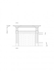 Line art of Columbian House fireplace mantel featuring panel mold, cornice mouldings, and other mantel mouldings.