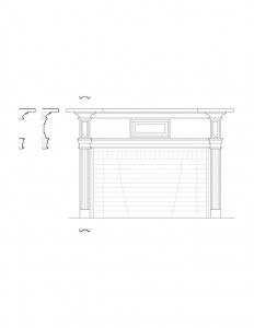 Line art of Columbian House fireplace mantel featuring panel mold, and cornice mouldings.