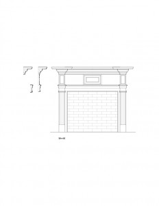 Line art of Columbian House fireplace mantel featuring panel molds, cornice mouldings, and other mouldings.