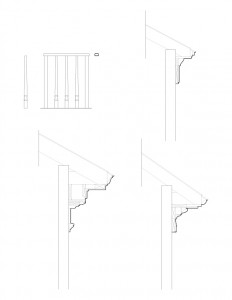 Line art of Columbian House columns featuring cornice mouldings, along with separate stair balusters.