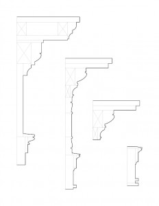 Line art of Columbian House mixture of fireplace mantel moulding profiles.