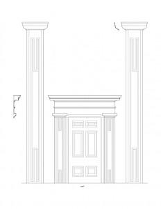 Line art of congressional church building doorway mouldings including columns, door panel molds, and cornice mouldings.