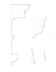 Line art of congressional church building mix of column and door moulding profiles.