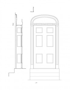 Line art of corydon taylor house door casing moulding with panel molds, pattern designs, and cornice moulding.