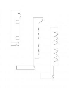 Line art of cordon taylor house mantel moulding profiles.
