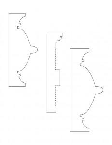 Line art of cordon taylor house window casing moulding profiles.