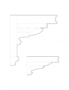 Line art of cordon taylor house fireplace mantel moulding profiles.