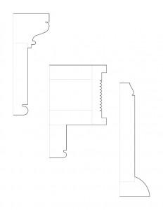 Line art of cordon taylor house doorway moulding profiles.