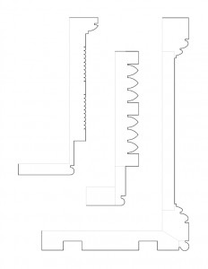 Multiple line art sketches of cordon taylor house doorway moulding profiles.