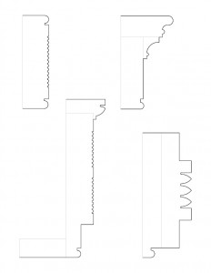 Multiple line art sketches of cordon taylor house moulding profiles