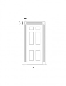 Line art of corydon taylor house door casing moulding with panel molds and cornice moulding.