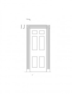 Line art of corydon taylor house door casing moulding with panel molds and multiple cornice mouldings.