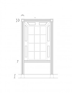 Line art of window casing moulding in the corydon taylor house featuring panel molds, and cornice mouldings.