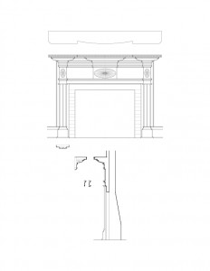 Line art of window casing moulding in the corydon taylor house featuring panel molds, and several cornice mouldings.