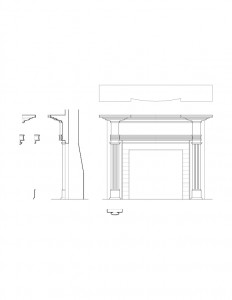 Line art of corydon taylor house fireplace mantel moulding featuring cornice mouldings and designs.