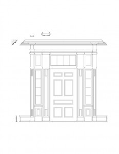 Line art of door mouldings for the curtis devin house featuring window casing, panel molds, door columns, and cornice mouldings.