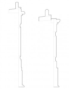 Line art of cutis devin house window apron and mitered return moulding profiles.