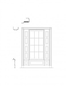 Line art of curtis devin house window featuring window casing, window panel molds, and cornice mouldings.
