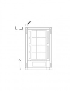 Line art of curtis devin house window featuring window casing, window panel molds, and multiple cornice mouldings.
