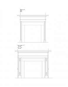 Line art of curtis devin house fireplace mantel featuring mantel mouldings, and decorative pattern designs on fireplace.