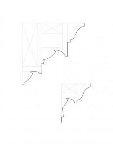 Line art of cutis devin house doorway cornice moulding profiles.