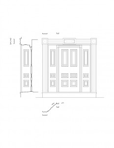 Line art of Dirlam Allen House doorway featuring panel molds and column detail along with cornice mouldings.
