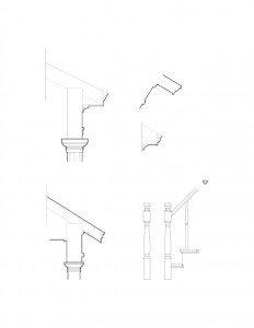Line art of column mouldings for the Dirlam Allen House featuring exterior cornice mouldings and newel posts and balusters.