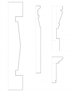 Mix of different line art sketches of different door moulding profiles for the Dirlam Allen House.