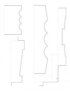 Different line art of Dirlam Allen house moulding profiles.