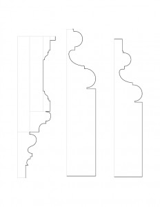 Several line art drawings of John Mathews House door moulding profiles.