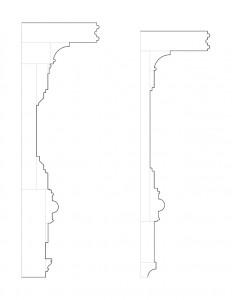 Several line art drawings of John Mathews House doorway moulding profiles.