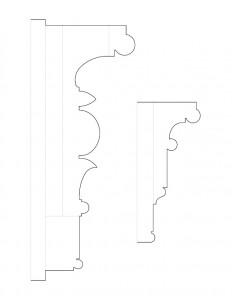 Several drawings of John Mathews House moulding profiles.