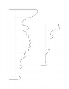 A couple drawings of John Mathews House moulding profiles.
