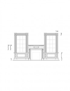 Line art of John Mathews House room featuring window casing with panel molds, fireplace mantel moldings, and other mouldings.