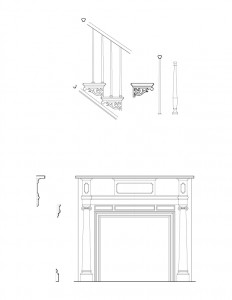 Line art of John Mathews House fireplace, and staircase featuring staircase balusters, and fireplace mantel mouldings.