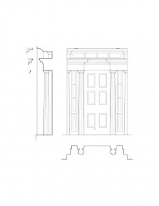 Line art of Fay Homestead House doorway casing featuring column details, panel molds, and cornice mouldings.