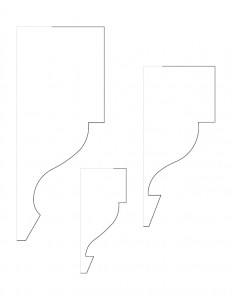 Line art of Fay Homestead house moulding profiles.