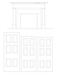 Line art of Fay Homestead House door casing mouldings featuring door panel molds, and fireplace mantel mouldings.