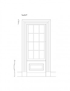 Line art of Fay Homestead House window mouldings, and window panel molds along with cornice mouldings.