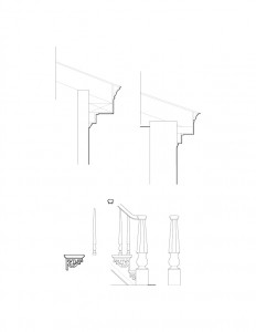 Line art of Fay Homestead House cornice and column mouldings, and staircase mouldings featuring balusters, newel post, and newel post cap.