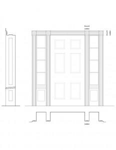 Line art of Fosdick doorway with door window mouldings, door panel molds, column details, and cornice mouldings.