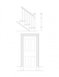 Line art of Fosdick house interior door featuring door panel molds, and staircase featuring balusters and newel post.