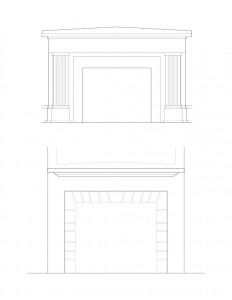 Line art of Fosdick house fireplace featuring column detail, and mantel mouldings.