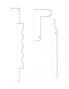 Line art of Fosdick house door moulding profiles including doorway moulding profiles.
