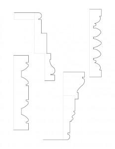Line art of Fosdick house door moulding profiles including many doorway moulding profiles.