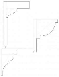 Line art of Fosdick house moulding profiles.