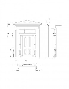 Line art of Frederick Kinsman House exterior doorway featuring column detail, panel molds, window casing, and exterior cornice mouldings.