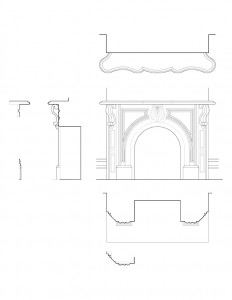 Line art of Frederick Kinsman House fireplace mantel featuring mantel mouldings, and design patterns.